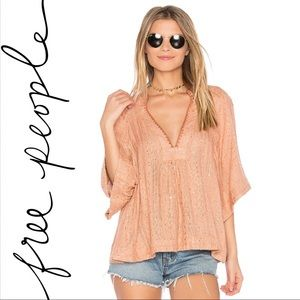 Free People   Get It Over Striped Peach Pullover